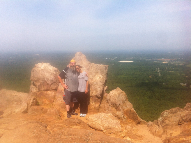 With my hiking buddy at the Pinnacle Summit Crowder's Mountain State Park